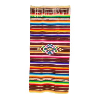 Serape Saltillo Blanket | 1930s Sarape Throw | Mexican Textiles For Sale