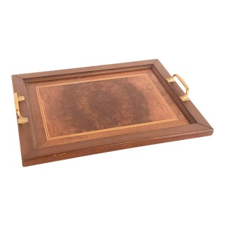Vintage 1950s Rectangular Mahogany Serving Tray For Sale