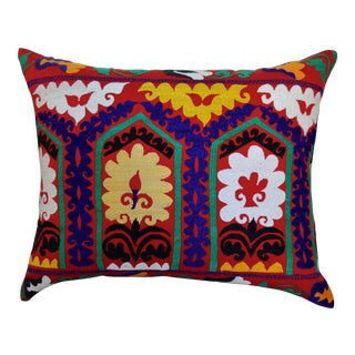 Embroidered Ikat Pillow For Sale