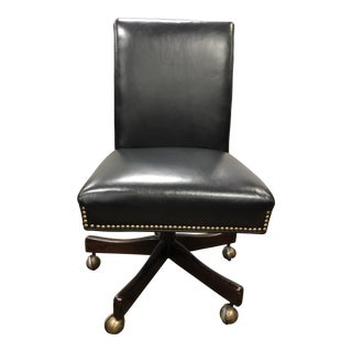 Black Leather Swivel Desk Chair For Sale
