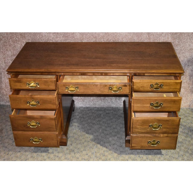 American 1960s Early American Ethan Allen Executive Desk For Sale - Image 3 of 12