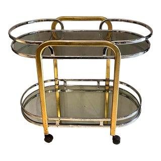 Mid-Century Modern Chrome and Brass Bar Cart, French, Circa 1950 For Sale