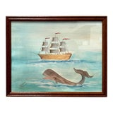 Image of Original Nautical Whale & Boat Watercolor Painting For Sale