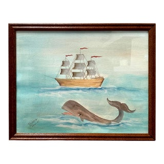 Original Nautical Whale & Boat Watercolor Painting For Sale