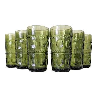 1960s Mid-Century Modern Kings Crown Avocado Glassware - Set of 6 For Sale