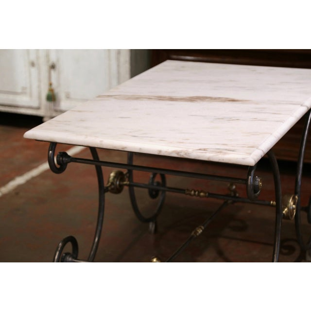 19th Century French Polished Iron and Bronze Pastry Table With Marble Top For Sale - Image 10 of 13
