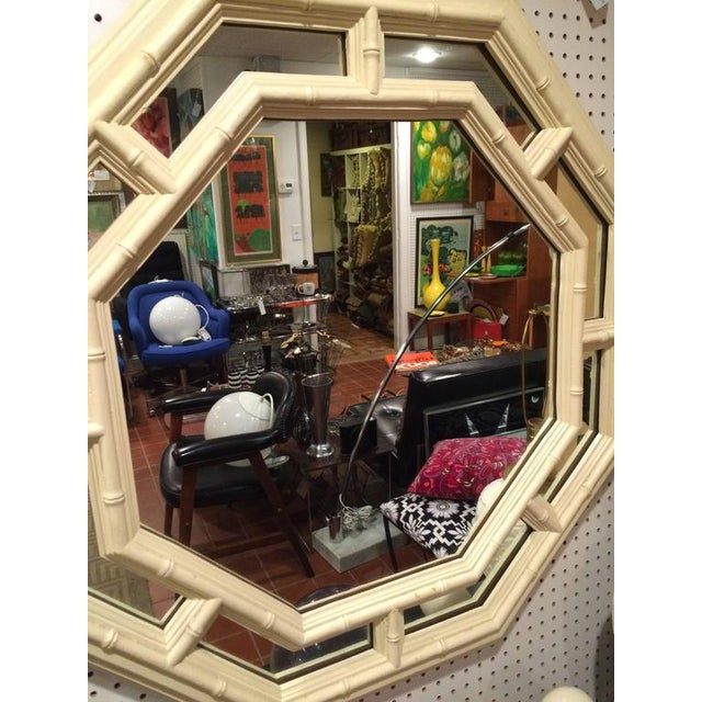 Resin Faux Bamboo Hollywood Regency Octagonal Mirror For Sale - Image 7 of 11