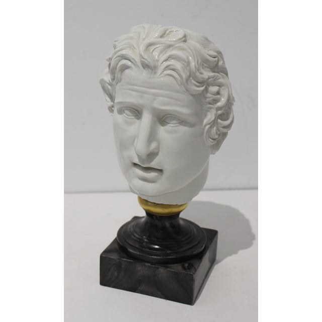 White Mid-Century Modern Roman Head of Male in White Porcelain on Faux Malachite Stand For Sale - Image 8 of 11