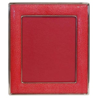 Red Shagreen Nickel-Plated Photo Frame by Fabio Ltd For Sale