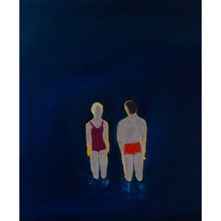 """Bill Tansey """" Couple"""" Abstract Oil Painting on Canvas For Sale"""