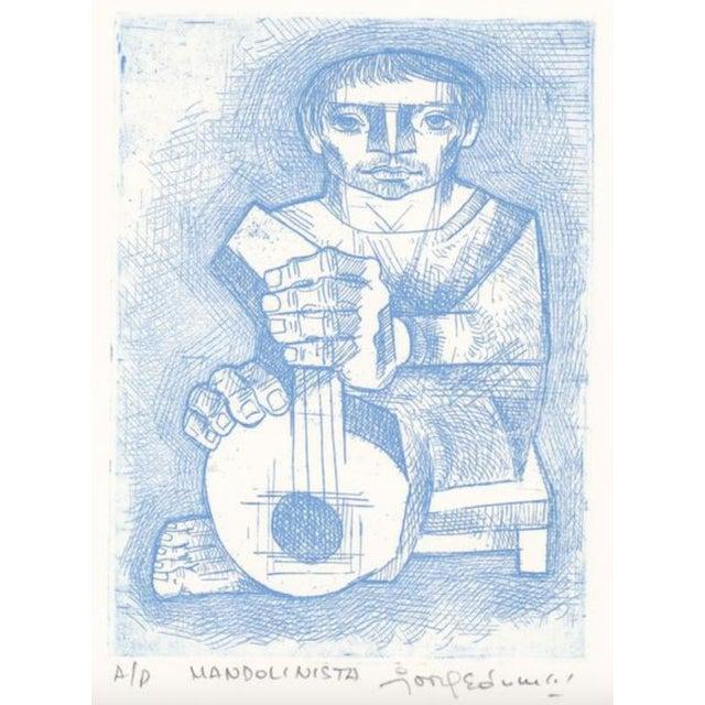 1970s Jorge Dumas Mandolinista Etching For Sale - Image 4 of 4