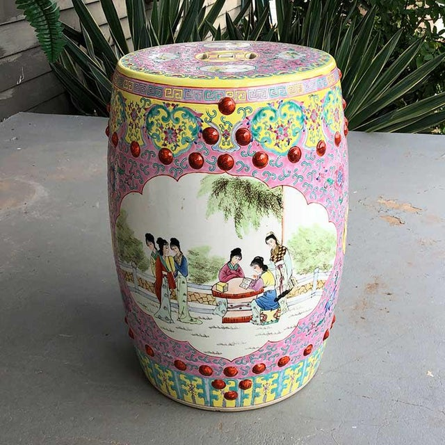 1960s Chinoiserie Chinese Famille Rose Pink Yellow Ceramic Garden Seat Stool For Sale - Image 9 of 10
