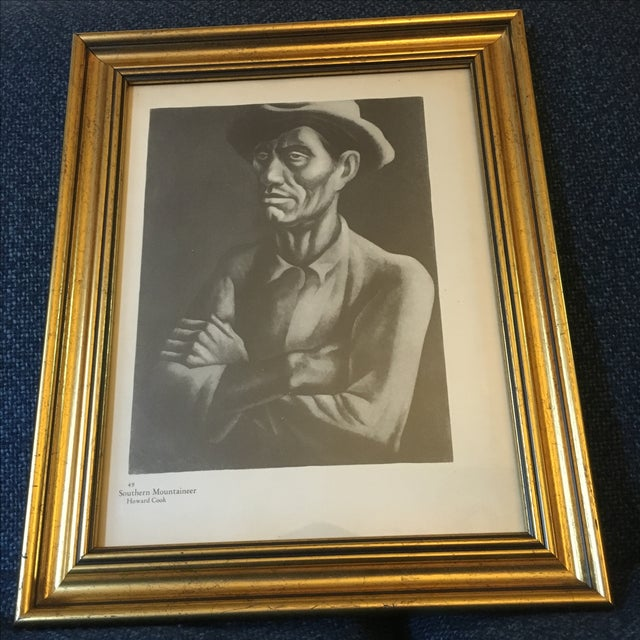 "Vintage Howard Cook Print ""Southern Mountaineer"" - Image 3 of 4"