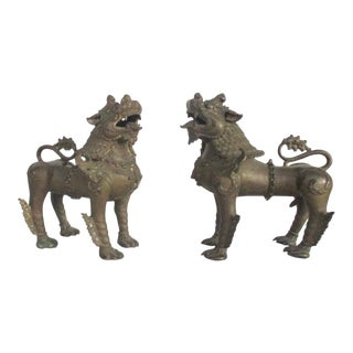 Antique Nepalese Bronze Buddhist Lions - a Pair For Sale