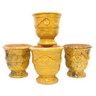 Vintage French Yellow Anduze Urns - Set of 4