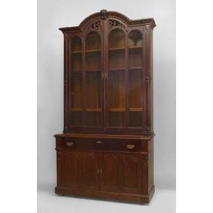 American Victorian plum-pudding mahogany secretaire-bookcase For Sale