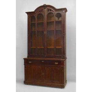 American Victorian plum-pudding mahogany secretaire-bookcase For Sale