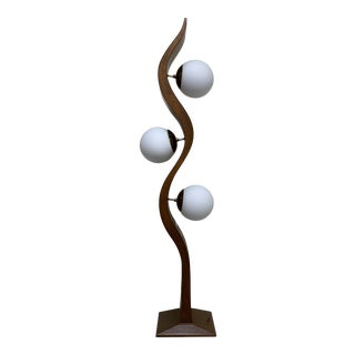 Modeline Walnut Serpentine Floor Lamp For Sale