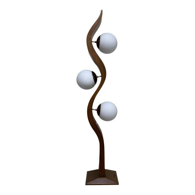 Modeline Walnut Serpentine Floor Lamp For Sale