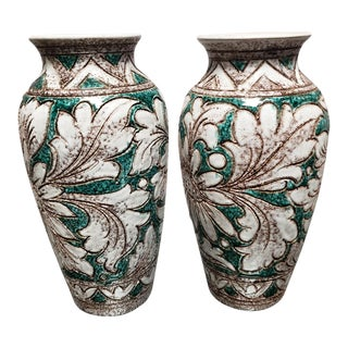 Vintage Mid Century Italian Sgraffito Pottery Floral Motif Vases - a Pair For Sale