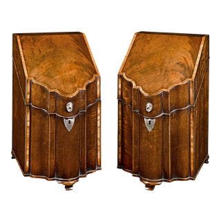George III Mahogany Footed Knife Boxes For Sale