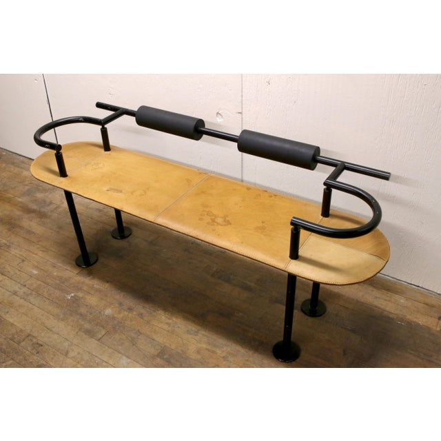 Ettore Sottsass Vintage Ettore Sottsass Postmodern Memphis Group Style Steel and Leather Bench For Sale - Image 4 of 13
