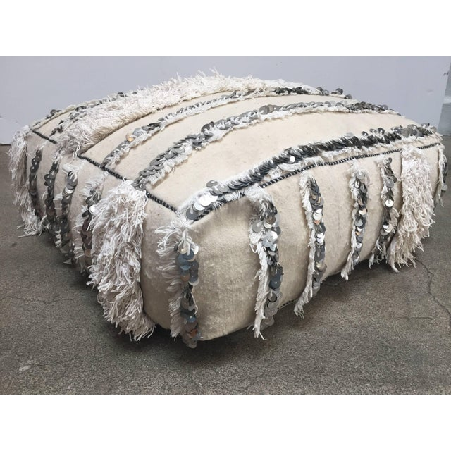 Boho Chic Moroccan Wedding Floor Pillow Pouf with Silver Sequins and Long Fringes For Sale - Image 3 of 10