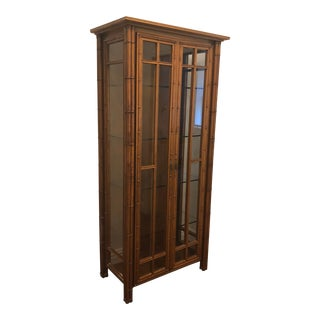 1998 Vintage Chinoiserie Faux Bamboo Display Cabinet