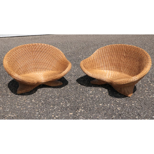 Wicker Low Lounge Chairs - a Pair For Sale - Image 13 of 13