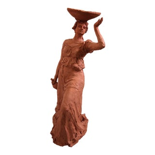 """""""Woman With a Bowl"""" Terracotta Sculpture by Sarah Myers For Sale"""