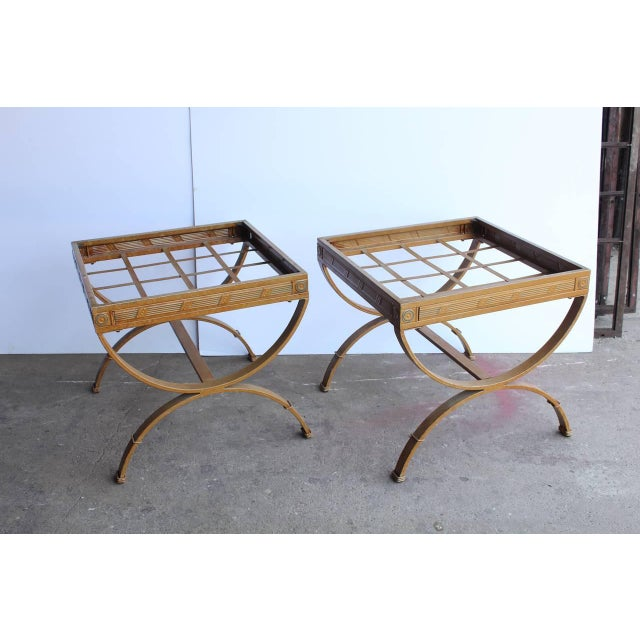 Hollywood Regency 1930's Vintage French Metal Side Tables- A Pair For Sale - Image 3 of 3
