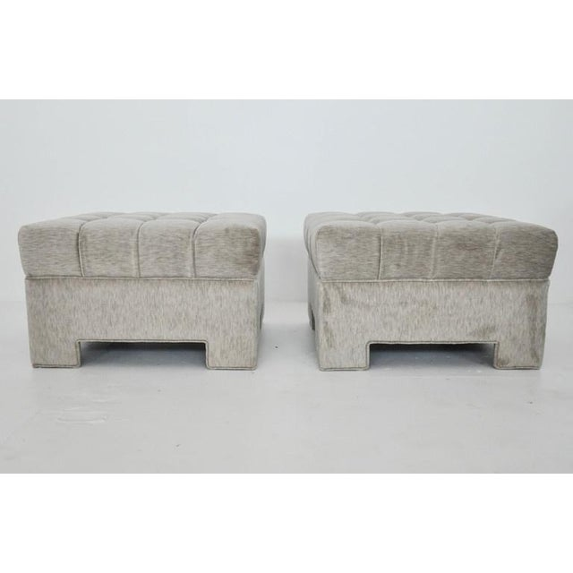 Mid-Century Modern Milo Baughman Tufted Ottomans For Sale - Image 3 of 5