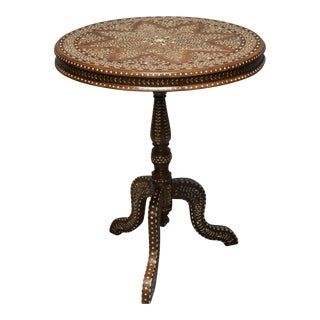 Wood and Bone Inlay Top Round Table For Sale