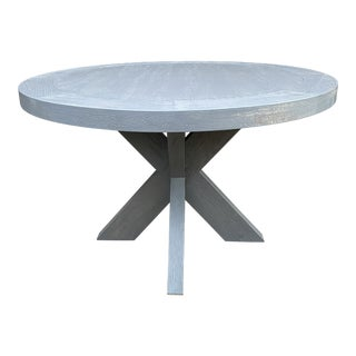 French Restoration Hardware X Base Round Dining Table For Sale