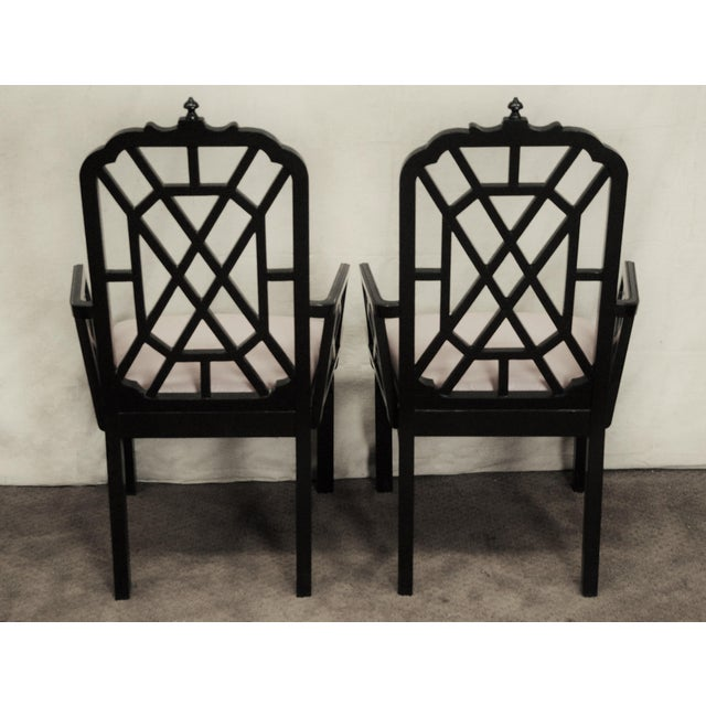 Hollywood Regency Chinoiserie Pagoda Dining Chairs - Set of 6 For Sale - Image 4 of 5