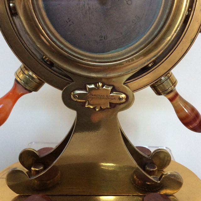 Agate & Brass Nautical Barometer For Sale - Image 9 of 10