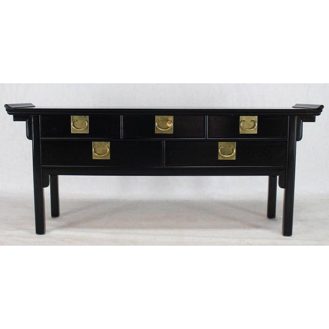 Mid 20th Century Oriental Mid-Century Modern Ebonized Black Lacquer Sideboard or Credenza For Sale - Image 5 of 10