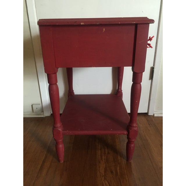 Distressed Maroon One Drawer Side Table - Image 4 of 7