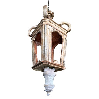 Large Baroque Wooden Fragment Lantern For Sale