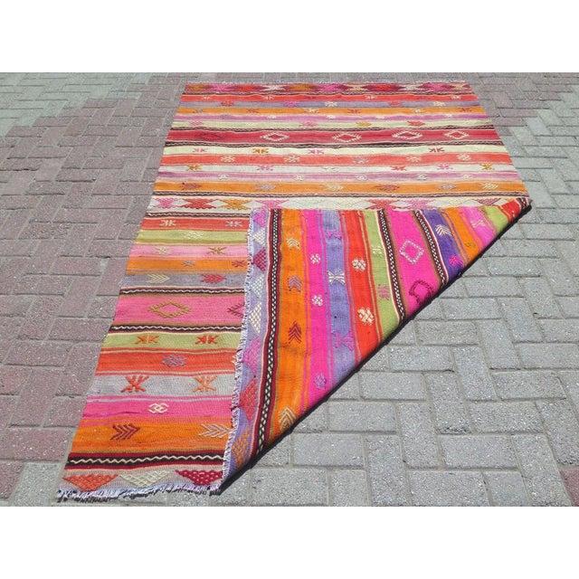 Vintage Turkish Kilim Area Rug - 5′4″ × 7′10″ - Image 2 of 11