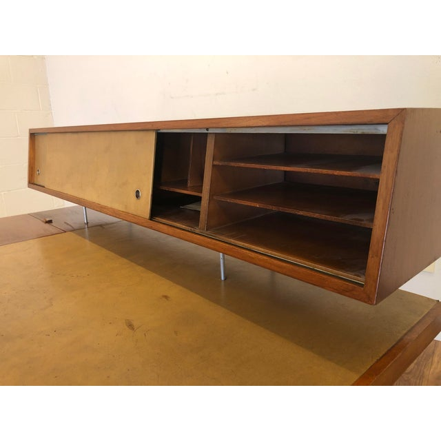 George Nelson for Herman Miller Walnut, Steel and Leather Mid Century Desk For Sale - Image 9 of 12