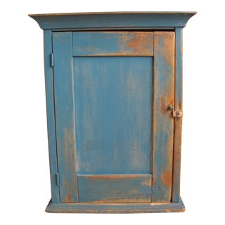 19th Century Rustic Blue Painted Wall Cupboard For Sale