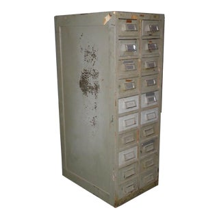 Vintage Wright Line Industrial Gray File Cabinet or Card Catalog Cabinet