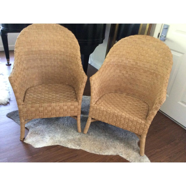 Woven Bistro Chairs With Cushions - A Pair - Image 5 of 5