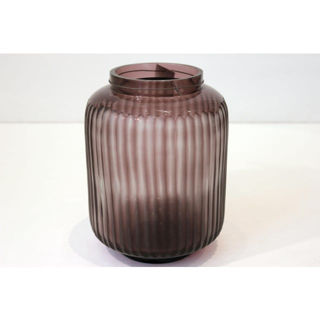 2010s Hand Blown & Handcut Lilac Glass Vase For Sale - Image 5 of 5