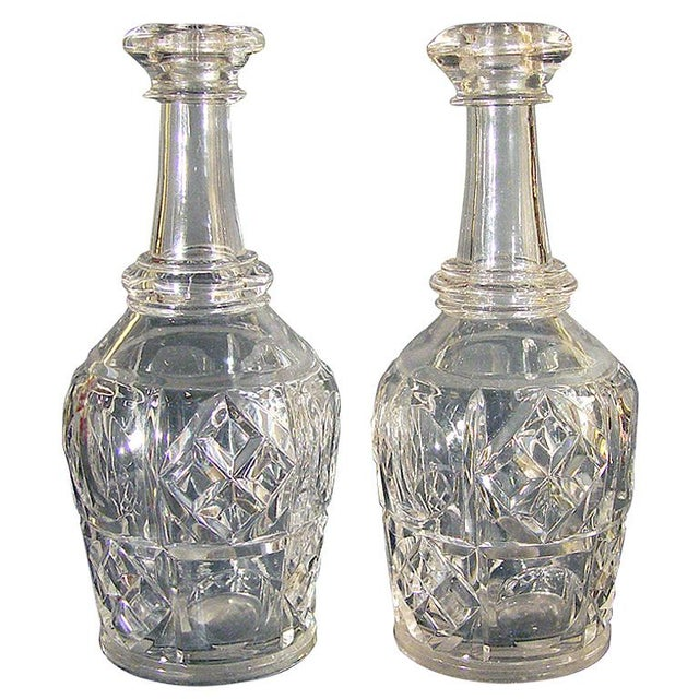 Early American Pittsburgh Glass Bar Bottles or Decanters Bakewell Pears & Co. - A Pair For Sale - Image 3 of 3