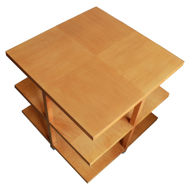 1960s Baker Classic 3-TierTiger Maple Side Table For Sale - Image 10 of 10
