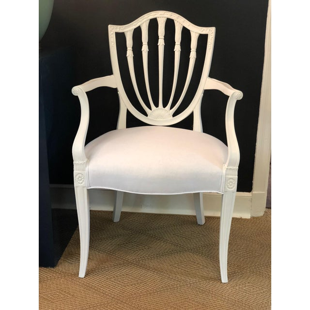 Hepplewhite 1930s Hepplewhite Shield-Back Chairs — a Pair For Sale - Image 3 of 10