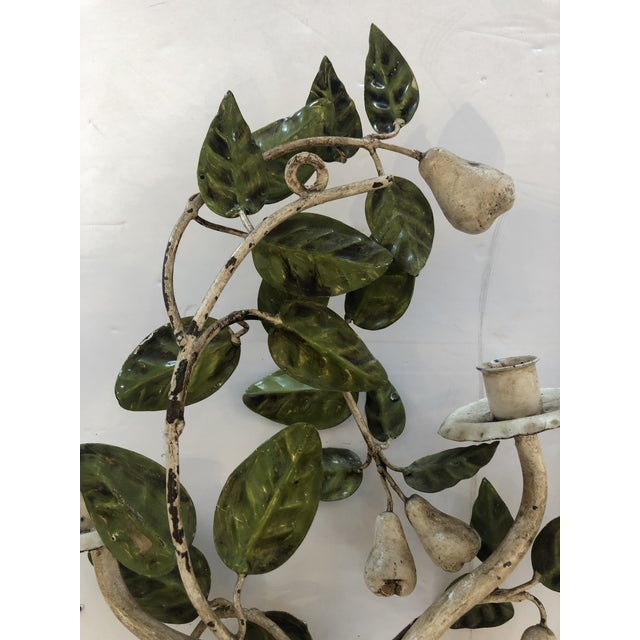 Tole & Iron Painted Pear & Leafy Wall Sconces - a Pair For Sale - Image 10 of 13