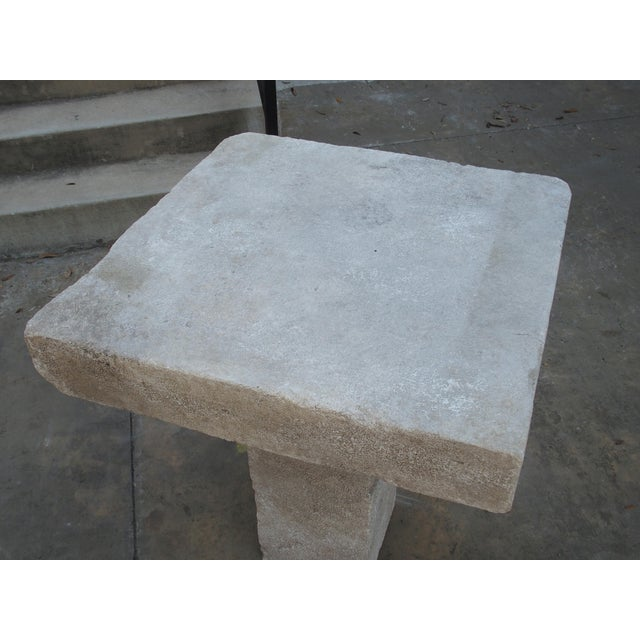 Early 21st Century Carved Square Top French Limestone Bistro Table For Sale - Image 5 of 12